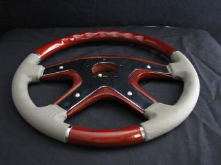 New 15 Gray Leather Wood Grain Steering Wheel