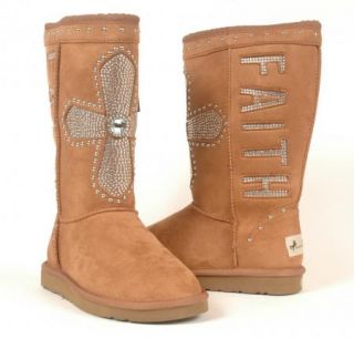 West Rhinestone Cross Faith Western Bling Winter Boots 7 $99 99