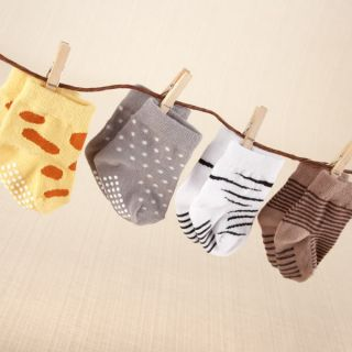 Sock Safari Four Pair Animal Themed Sock Set Baby Shower Favors