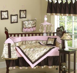 PINK AND BROWN CRIB BABY BEDDING SET FOR NEWBORN GIRL ROOM BY SWEET