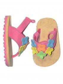 Girls Infant Baby Bouquet Flip Flop w/Elastic Back Rubber Sole Sandal