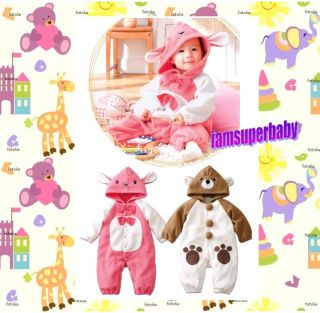 Baby Boy Girl Fleece Rabbit Bear Costume Romper 6 27m