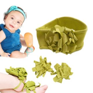New Fashion baby Boys Girls Kid Green Flower Headband + Baby Barefoot