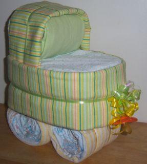 Baby Shower Striped Diaper Bassinet Diaper Cake