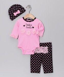Baby Essentials Girl Infant Pink Crawler Polka Dot Pants Beanie Set 9M
