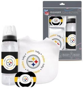 Pittsburgh Steelers Infant Baby Fanatic Gift Set Bottle Bib Pacifier