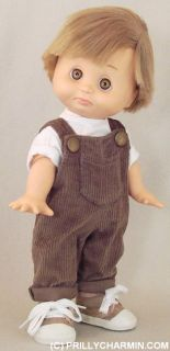 Baby Face Boy Tan Overalls Sneakers to Make BF Boy Corduroy Cuteness