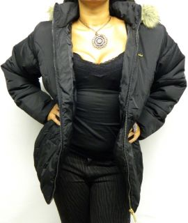 Baby Phat Goth Faux Fur Cinched Slimming Coat Trench Hoodie Jacket 3X