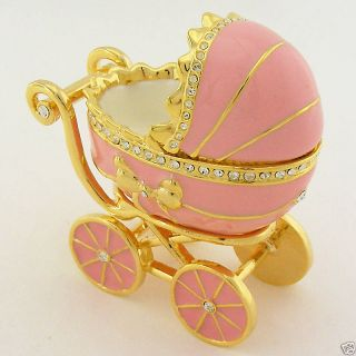 Baby Girl Stroller Miniature Gold Pink Enamel Swarovski Crystal Juju