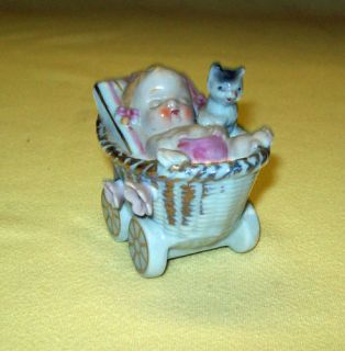 Ceramic Baby Carriage Pram Figurine Cat Basket Planter
