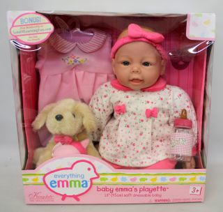 Everything Emma Baby Doll & Dog, 2 outfits, bottle by Kingstate Floral