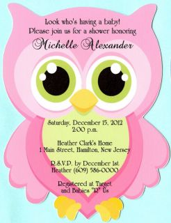 Cut Adorable Owl Personalized Baby Shower Invitations with Envelopes