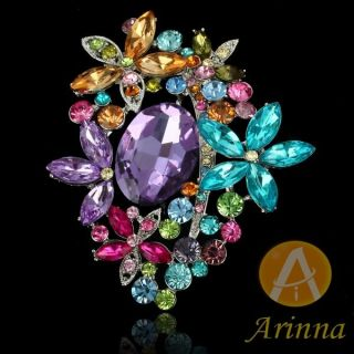 ARINNA Colorful Flowers Rhinestone Fashion Brooch Pin 18K WGP