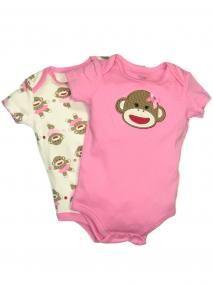 Girl 2 Pack of Sock Monkey Onesie Bodysuits by Baby Starters