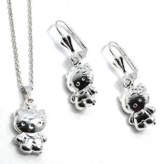 Set Hello Kitty Sterling Silver 925 Leverback Dangle 3D Earrings