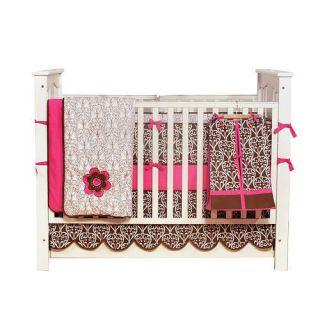 Bacati Damask Pink Chocolate 10 Piece Crib Bedding Set