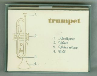 1970s 80s UNUSED BOXED Note Cards with TRUMPET Picture Parts by EATON
