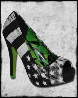 Abbey Dawn Avril Lavigne Rockstar Black White Stars Stripes Platform