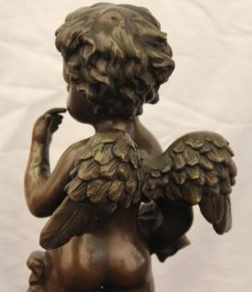 Signed Auguste Moreau Innocence Cherub Cupid Angel Bronze Statue