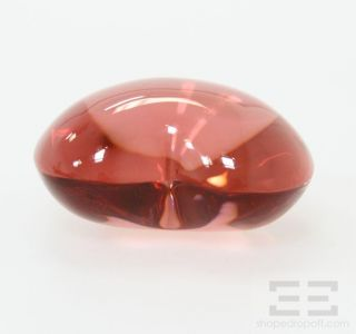 Baccarat Red Crystal Signed Heart Shaped Paperweight