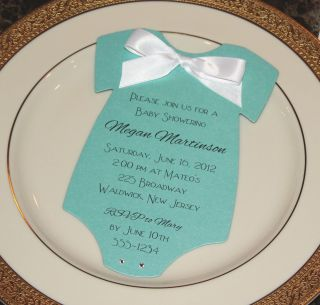 Baby Shower Invitation Onesie Tiffany Blue and Other Colors Available