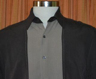 Axist Silk Touch Short Sleeve Dark Brown Rayon Polyester Shirt Mens