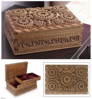 Sunflowers Intricately Hand Carved Walnut Wood Jewelry Box India