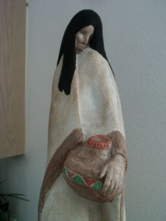 xLG Vintage AUSTIN PROD Acoma Woman Statue Sculpture   Signed *JUST