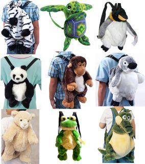 Stuffed Animal Plush Doll Kids Toddler Backpack Bag Frog Monkey Panda
