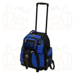New Roomy 18 Rolling Wheeled Backpack Bookbag Royal Blue