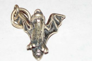 Vampire Bat Solid 3 D USA Vintage Sterling Silver Charm Excellent