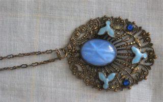 1930s Czech Style Blue Star Sapphire Glass Art Deco Nouveau Enameled
