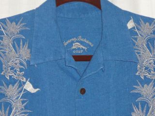 Tommy Bahama Golf Hawaiian Camp Linen Embroidered Shirt size M