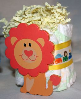 Custom Diaper Cake Jungle Animal Lion Gift Baby Shower Diaper Cakes