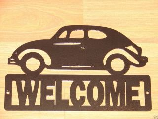 VW Beetle Bug Welcome Sign Home Decor Plaque Garage Car