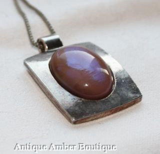 Vintage Saphiret Glass Silver Tone Pendant on Chain