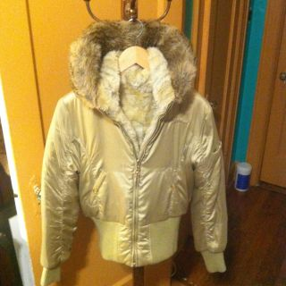 Baby Phat M Jacket Coat Fur Inside Collar Gold Tan Beige Reversible