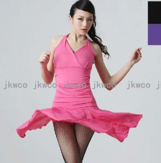 Woman Latin Ballroom Dance Dress One Piece Halter Flouncing Dance