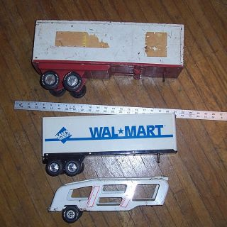 of Semi Trailers Tonka Car Carrier and 2 Nylint Box Trailers