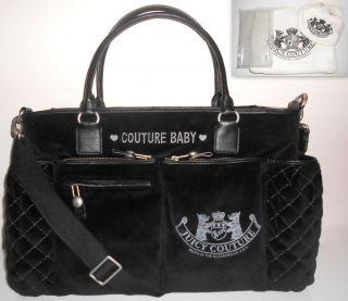 COUTURE BLACK VELOUR BABY TOTE DIAPER STROLLER BAG W ACCESSORIES NWT