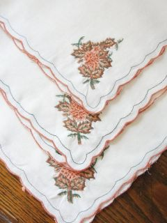 FINE LINEN 12 pc Placemats Napkins Autumn Leaves Embroidered