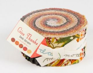 Deb Strain Give Thanks Quilt Fabric Jelly Roll 2.5 Strips Autumn Fall