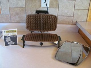 Penncrest Waffle Baker Grill Press Teflon Sandwiches Trays Chrome