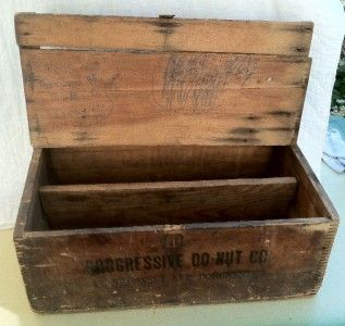 Antique Wood Wooden Bakery Delivery Bread Box Progressive Donut Co