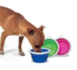 Dog Travel Bowl Silicone Collapsible Portable Food Water Dish 1 Cup