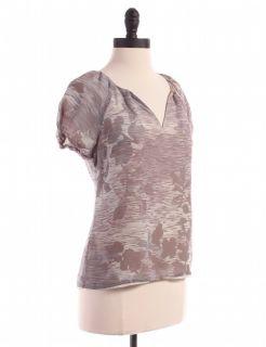 Banana Republic Silk Printed Blouse Sz SP Top Purple Shirt Floral