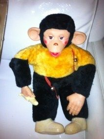 Vintage Rubber Face Monkey with Banana Stuffed Animal Toy
