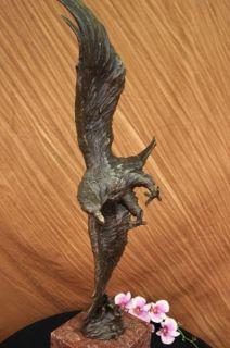 Signed American Bald Eagle Bronze Sculpture Statue Figure Art Deco