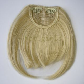Free ship★dark auburn Clip on Front Neat Bang Fringe Hair Extensions