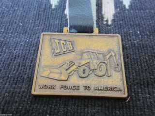 Vtg JCB J.C. Bamford Construction Equipment Die Cut Metal Watch Fob w